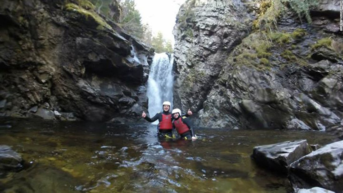 Lawson and her husband went canyoning, which involves climbing, jumping, rappelling and swimming.
