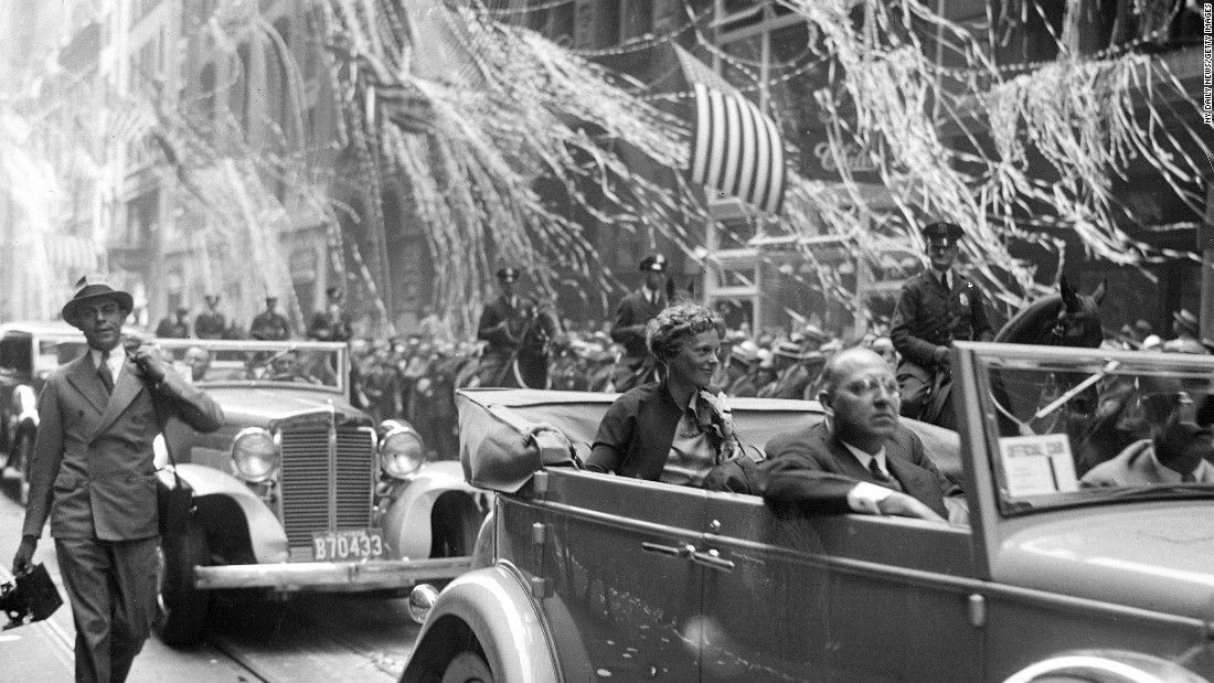 Amelia Earhart was given a ticker tape parade twice -- in 1928 when she became the first woman to complete a transatlantic flight and again in 1932 (pictured) when she became the first woman to complete the leg solo.