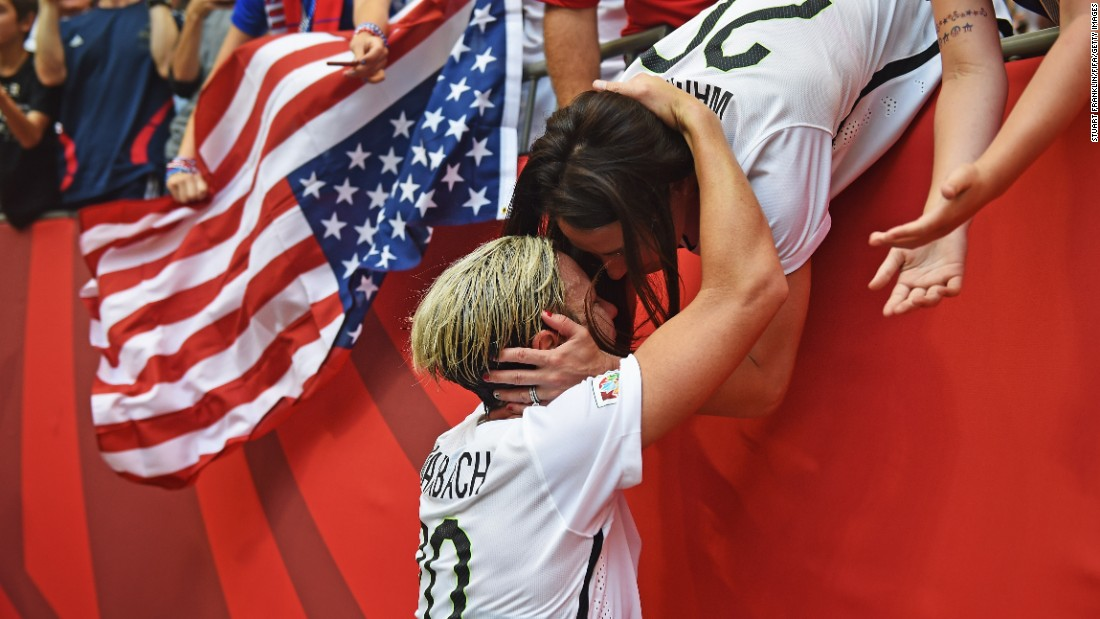 "U.S. soccer player Abby Wambach, left, celebrates with her wife, Sarah Huffman, after the Americans defeated Japan 5-2 <a href=""http://www.cnn.com/2015/06/12/football/gallery/usa-highlights-womens-world-cup/index.html"" target=""_blank"">to win the Women's World Cup</a> on Sunday, July 5."