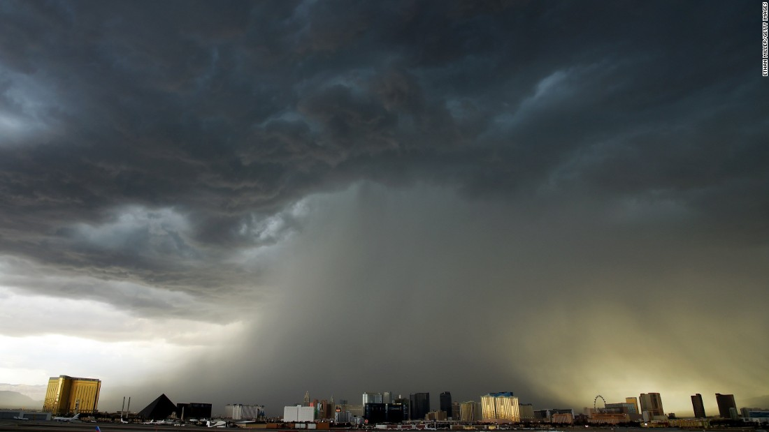 A thunderstorm is seen northwest of the Las Vegas Strip on Monday, July 6.