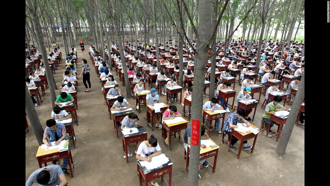 More than 800 high-school students in Fengqiu, China, take their final exams on Monday, July 6.
