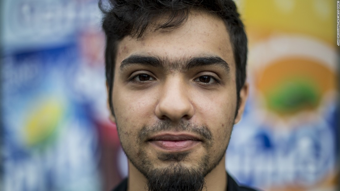 Shaheen Al-Obaidi, a 21-year-old refugee from Mosul, Iraq, poses for a picture in Berlin on June 26, 2015.