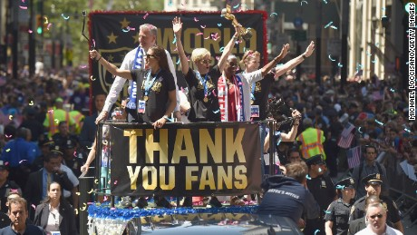 The US soccer team celebrates its 2015 Women's World Cup victory with a ticker-tape parade in New York City.