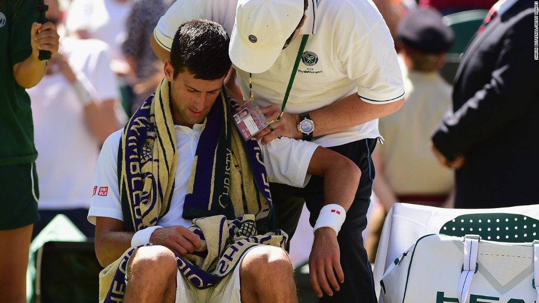 The Serbian also needed massage on his shoulder during the second set.