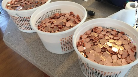 Stephen Coyle used 60 pounds of pennies to pay off his parking fines in a protest.