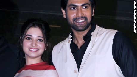 "Indian actors Tamannaah Bhatia and Rana Daggubati at the launch of the trailer for ""Baahubali."""