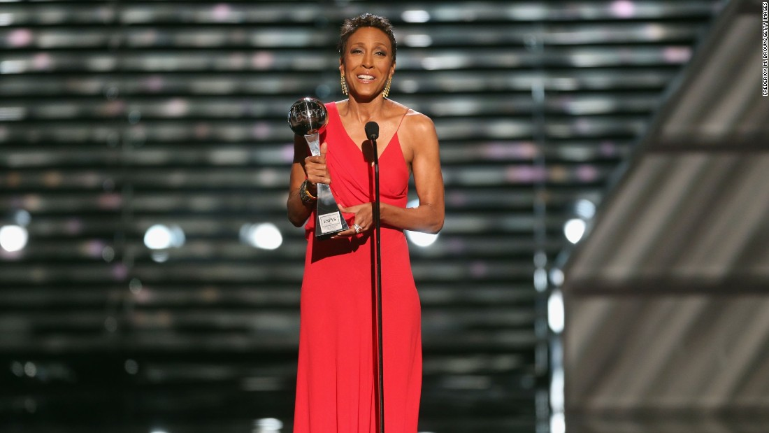 "<strong>Robin Roberts</strong>, the 2013 Arthur Ashe Courage Award recipient, broke into a primarily white male's world of sports journalism as a black woman, and ESPN recognized her achievement. The ""Good Morning America"" co-anchor fought breast cancer and myelodysplastic syndrome, a rare blood disorder.  After receiving a bone marrow transplant with the aid of her sister, Roberts was able to recover and return to ""GMA,"" stronger than ever. ""It's humbling for me to represent you tonight,"" <a href=""http://marquee.blogs.cnn.com/2013/07/18/watch-robin-roberts-touching-speech-at-espys/"">she said upon accepting the award.</a> ""I draw strength from you. You give me the courage to face down any challenge, to know that when fear knocks, to let faith answer the door."""