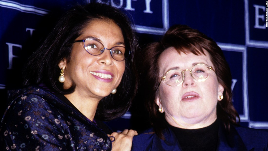 "Tennis legend<strong> Billie Jean King</strong>, right, received<a href=""http://espn.go.com/espys/arthurasheaward"" target=""_blank""> the 1999 award</a> because she was a huge advocate for women's sports. In 1972, she won the U.S. Open and threatened not to participate next year if the women's prize money wasn't equal to the men's. King is the founder and first president of the Women's Tennis Association. As head of the World Team Tennis league, she became the first woman commissioner in professional sports."