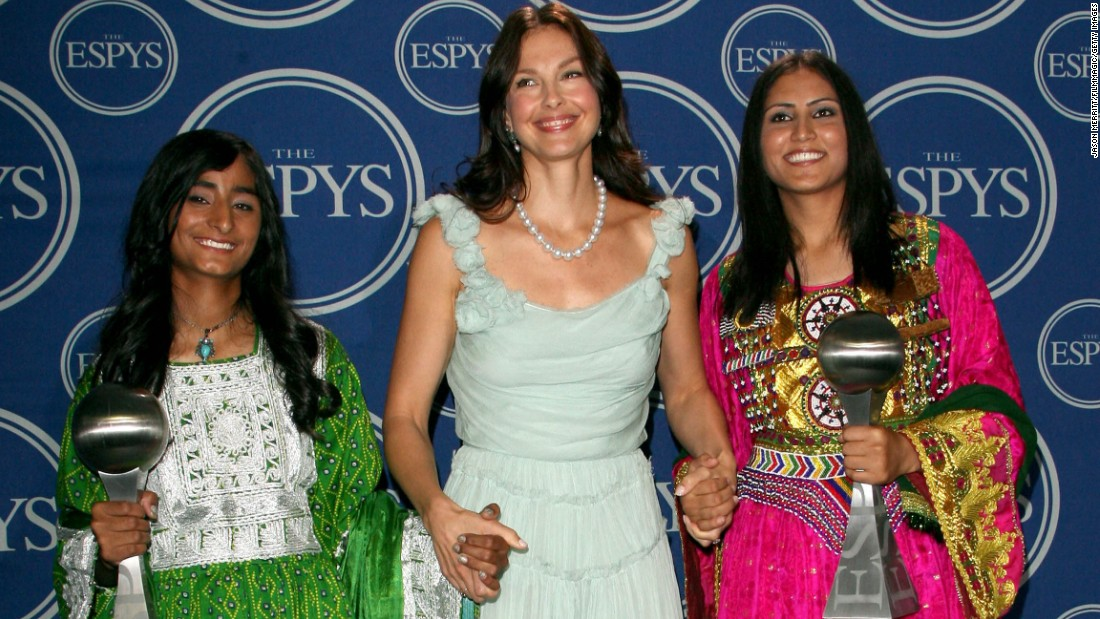 "<strong>Roia Ahmad</strong> and <strong>Shamila Kohestani</strong>, pictured with presenter Ashley Judd, received the award in 2006. <a href=""http://espn.go.com/espys/arthurasheaward"" target=""_blank"">Ahmad and Kohestani </a>were honored for their work with the Afghan Youth Sports Exchange, which aims to empower young women through athleticism to become leaders."