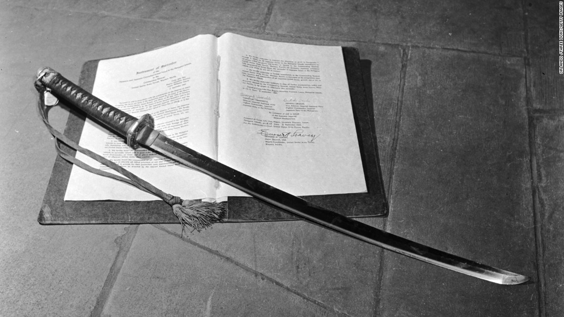 The samurai sword of General Tomoyuki Yamashita, commander of the Japanese troops in the Philippines during World War II. It rests on the Philippine Surrender Document.