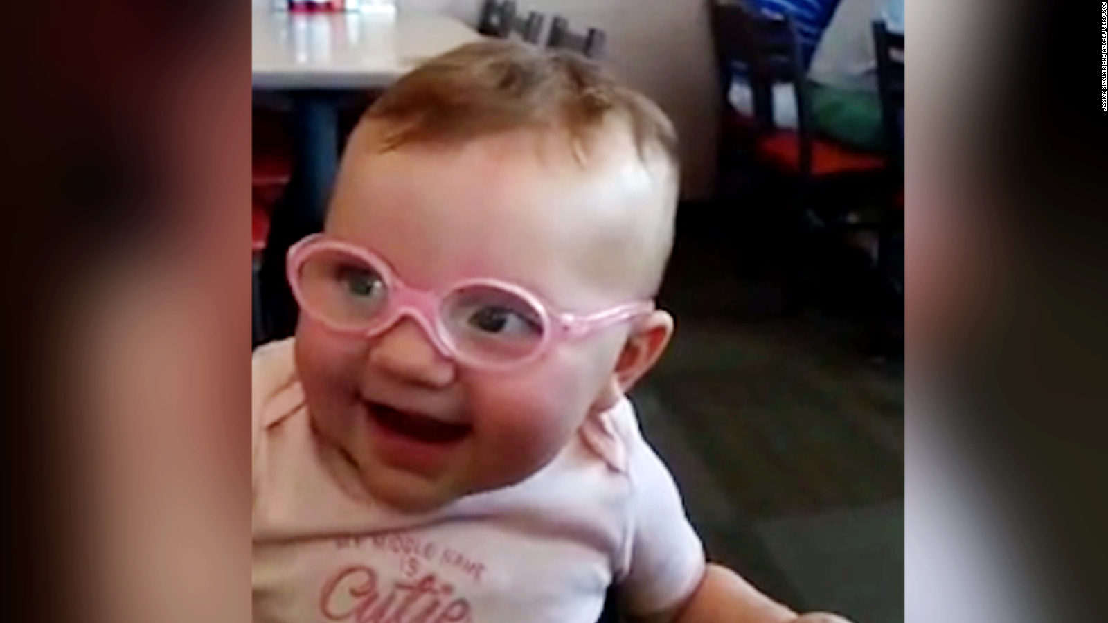 Babys Adorable Reaction To Glasses CNN Video - Little girls reaction to seeing her parents clearly for the first time is adorable