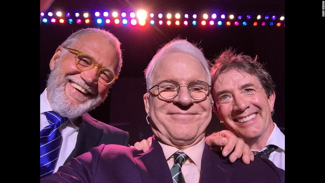 """A big comedy night for (Martin Short) and me in San Antonio,"" <a href=""https://twitter.com/SteveMartinToGo/status/619716230170030080"" target=""_blank"">tweeted comedian Steve Martin,</a> center, on Friday, July 10. ""Surprise guest, David Letterman."""