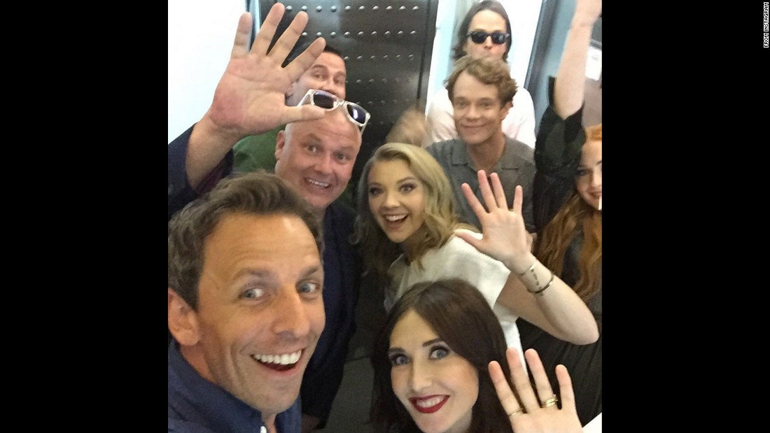 """Game of Elevators!"" <a href=""https://instagram.com/p/4-H1tdtsjn/"" target=""_blank"">joked talk-show host Seth Meyers</a> as he took a selfie with stars of the television show ""Game of Thrones"" on Friday, July 10. They were in San Diego for Comic-Con International."