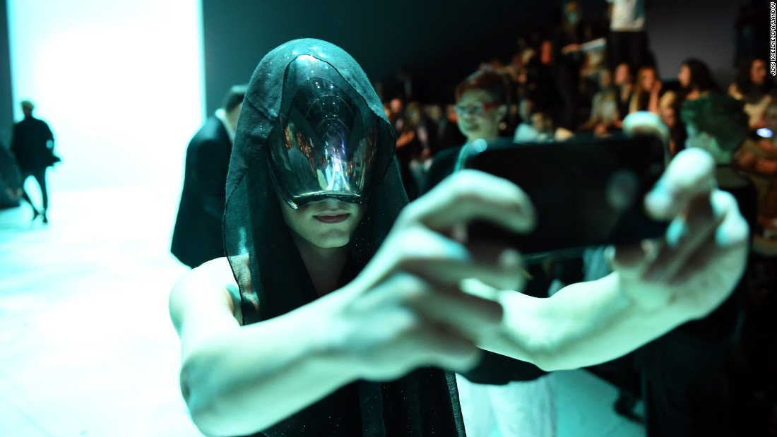 Fashion designer Thoas Lindner takes a selfie before a show at Berlin Fashion Week on Friday, July 10.