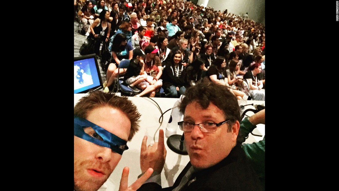 "Actors Seth Green, left, and Sean Astin <a href=""https://instagram.com/p/4-HRYoA2UP/"" target=""_blank"">host a ""Teenage Mutant Ninja Turtles"" panel</a> at San Diego Comic-Con on Friday, July 10. Both of them voice characters on Nickelodeon's animated television show."