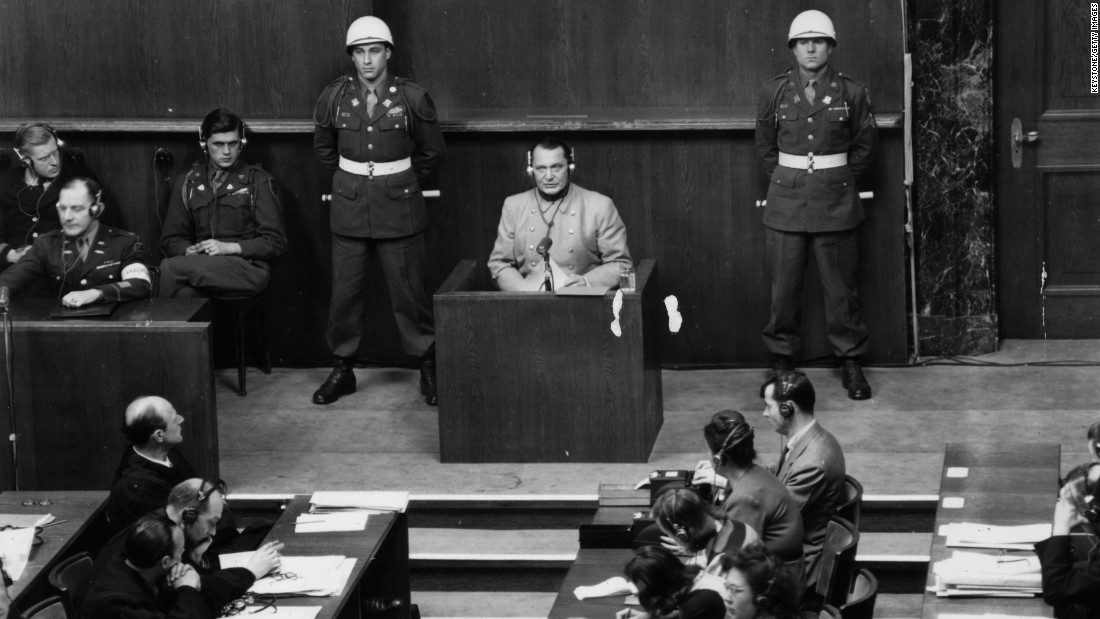 "Hermann Goering was the highest-ranking Nazi tried at Nuremberg. He issued the order for Hitler's security police to carry out a ""Final Solution"" to the ""Jewish question"" -- resulting in the Holocaust. He was sentenced to death but committed suicide before he could be executed."