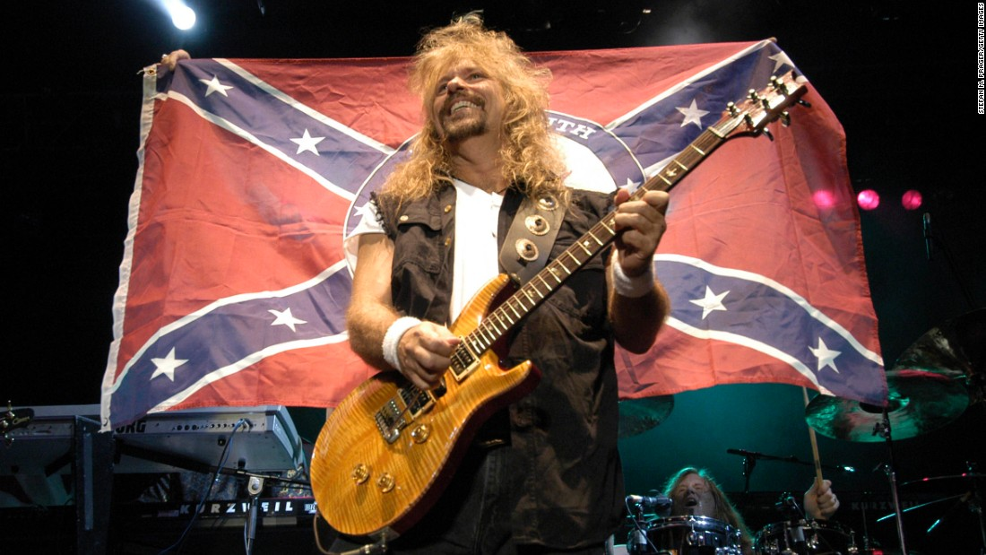 "The Southern rock band Molly Hatchet has defended its use of the flag. ""We still stand by our heritage, which is the South,"" guitarist Bobby Ingram <a href=""http://www.hotmetalonline.com/2013/01/04/molly-hatchet-confederate-flag-not-racist/"" target=""_blank"">told Hot Metal in 2013</a>. ""I don't look at it as being racist at all. I look at it as heritage, not hate."""