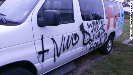 In March, someone spray-painted a noose on the church's van.