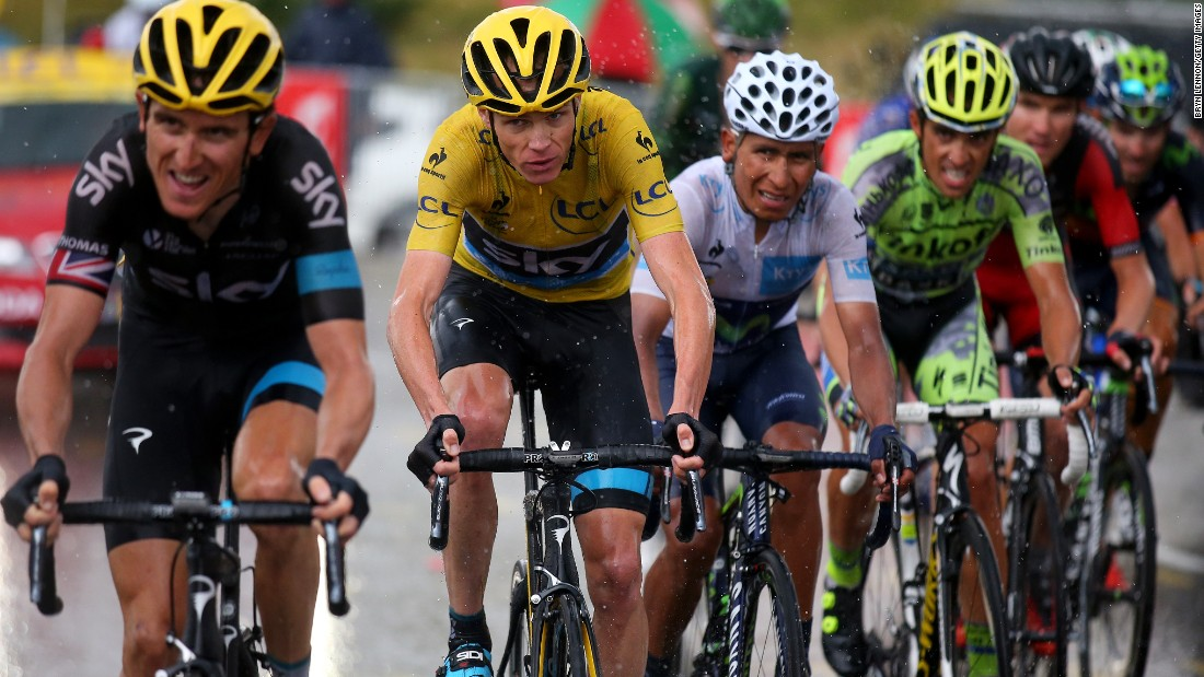 Britain's Chris Froome, pictured here behind Team Sky colleague Geraint Thomas, retained the leader's yellow jersey. Froome, the 2013 race winner, was two minutes and 52 seconds ahead of American Tejay van Garderen.