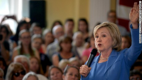 Democratic Presidential candidate Hillary Clinton speaks during a town hall event at Dover City Hall July 16, 2015 in Dover, New Hampshire.
