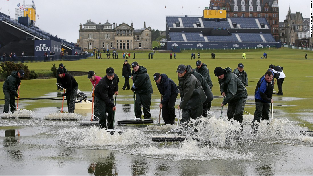 The start of the second round at the Open Championship was delayed Friday after torrential rain flooded sections of the course.