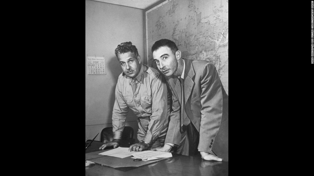 In 1942, U.S. Army Col. Leslie R. Groves, left, was appointed to head the Manhattan Project. On the right is physicist J. Robert Oppenheimer, who led the Los Alamos National Laboratory in New Mexico.