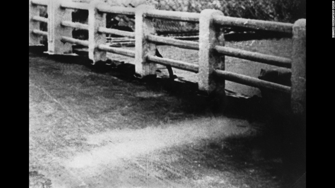 A white silhouette on a Hiroshima bridge shows an area that wasn't scorched by the bomb. It was reportedly the outline of a person's shadow -- someone who was shielded from the blast's heat rays by another person.