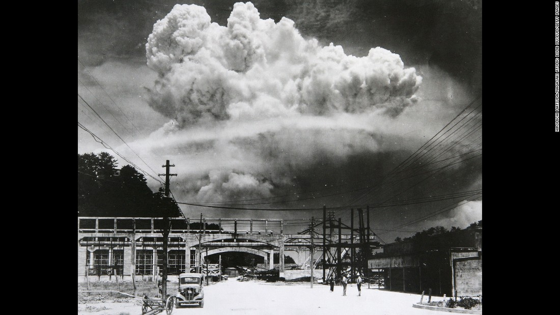 This photo was taken about six miles from the scene of the Nagasaki explosion. According to the Nagasaki Atomic Bomb Museum, photographer Hiromichi Matsuda took this photograph 15 minutes after the attack.