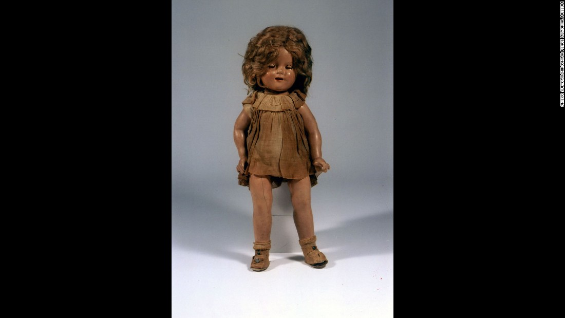 Chieko Suetomo loved this Shirley Temple doll that her father got her when he was in the United States. When he returned to their destroyed house a few days after the attack, she found the doll laying on what was left of the floor. The doll's once-beautiful light-peach clothes were blackened from head to toe, but Chieko continued to treasure the doll after the war. She eventually donated it to the museum.