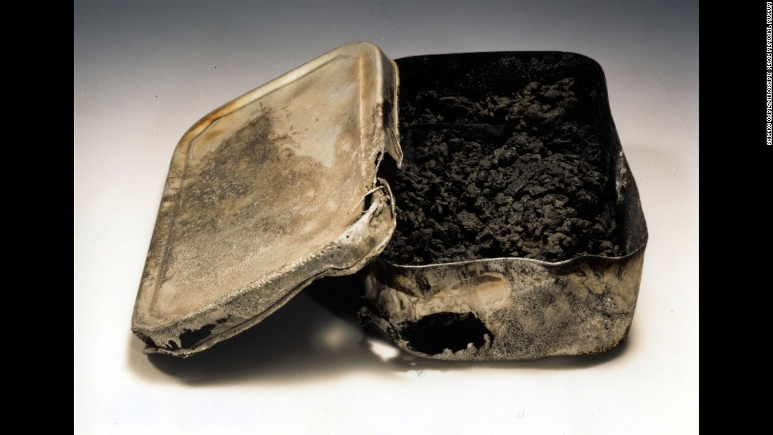 Shigeru Orimen was a first-year student at Second Hiroshima Prefectural Junior High School. A few days after the bombing, his mother found Orimen's body with this lunch box clutched under his stomach. The bomb had turned his lunch into nothing but charred remains.