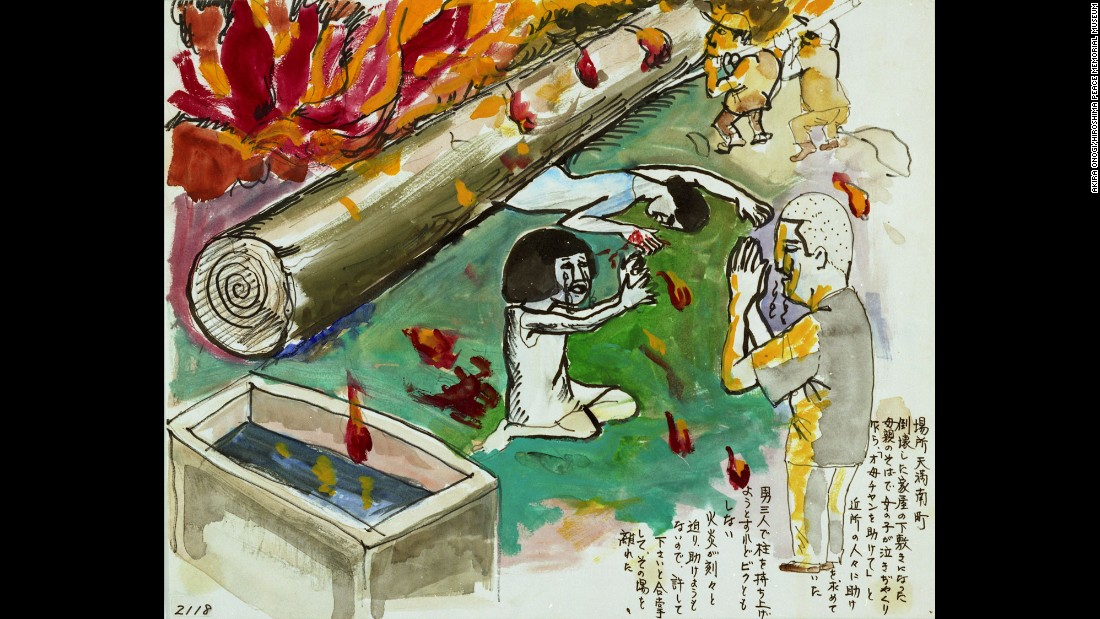 This drawing by survivor Akira Onogi shows a woman pinned under a pillar from her collapsed house as deadly flames approach. Next to the woman, a sobbing girl pleads for help from neighbors. The neighbors couldn't move the pillar.