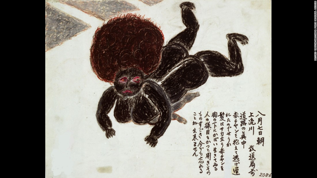 "Mitsuko Taguchi is haunted by this scene, depicted in her drawing, of a dead mother and child who had fallen while trying to outrun flames. ""Her hair was standing on end,"" Taguchi said. ""She still protected her child under her breast, like a living person. Her eyes were open wide. I cannot forget that shocking sight."""