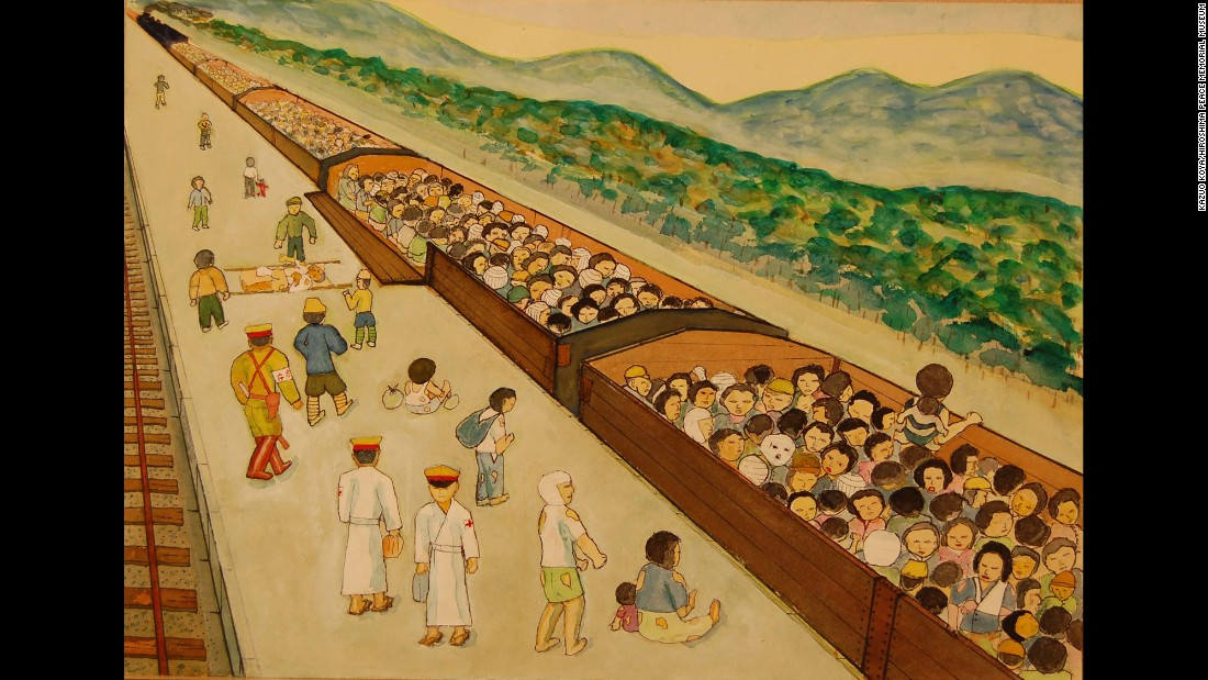 "Like cattle, injured survivors were loaded into rail cars to escape the ruined city. ""Most people were injured, and those with burns were slathered with white medicine,"" Kazuo Koya said. ""There were so many bandaged people. With only the clothes on their backs, they waited under the blazing sun for departure."""