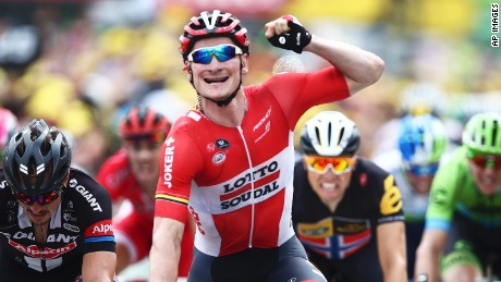 Andre Greipel celebrates his hat-trick of stage wins on the 2015 Tour de France.