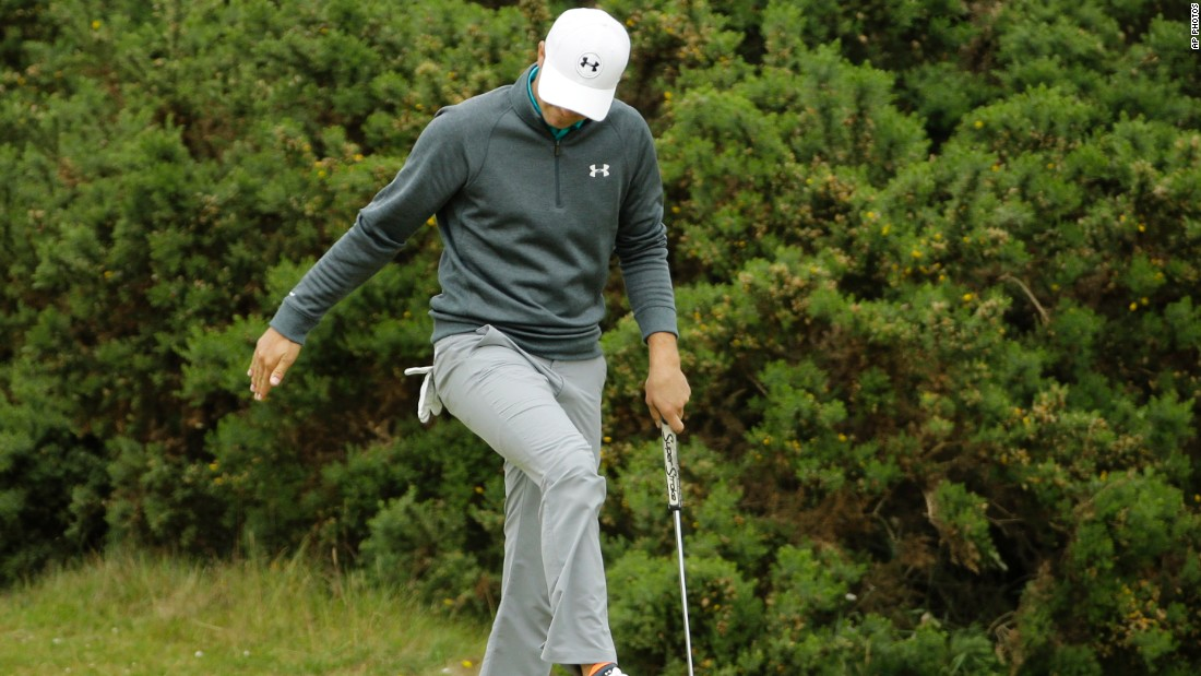 Ever the perfectionist. Spieth reacts after a missed putt on the eighth during his third round at St Andrews.