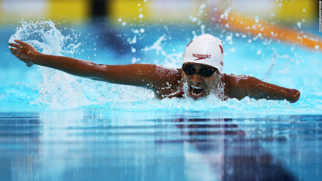 Canada's Katarina Roxon swims the 200-meter individual medley during the IPC Swimming World Championships on Sunday, July 19. The Paralympic meet was held in Glasgow, Scotland.