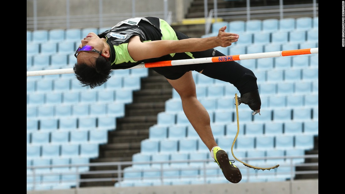 Toru Suzuki competes in the high jump Sunday, July 19, during Japan's Para Athletics Championships.
