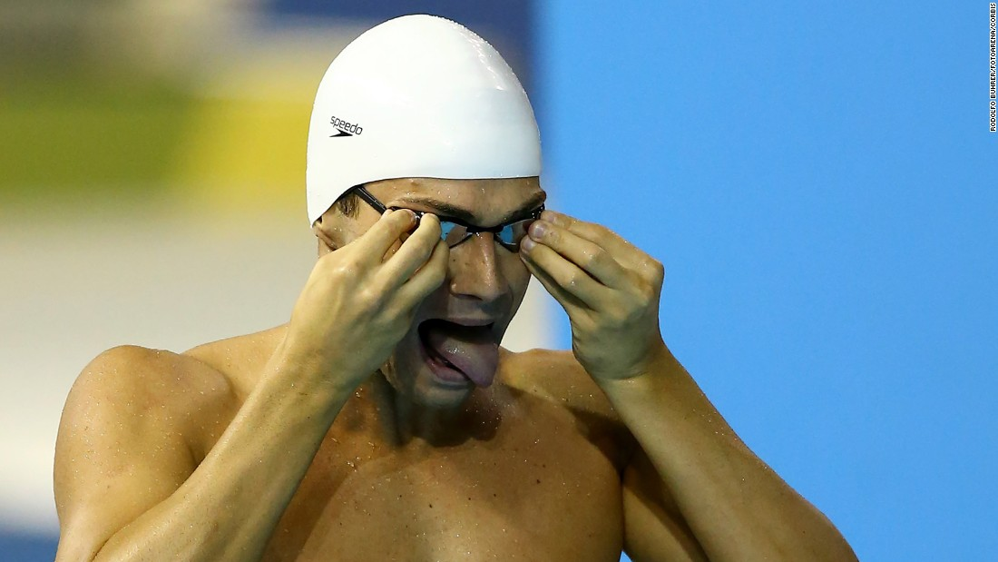 Brazilian swimmer Leonardo De Deus prepares for a race at the Pan American Games on Wednesday, July 15.