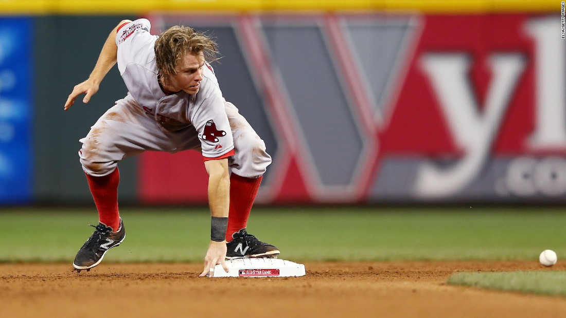 Boston's Brock Holt steals second base during the Major League Baseball All-Star Game on Tuesday, July 14. Holt and the American League won 6-3 in Cincinnati.