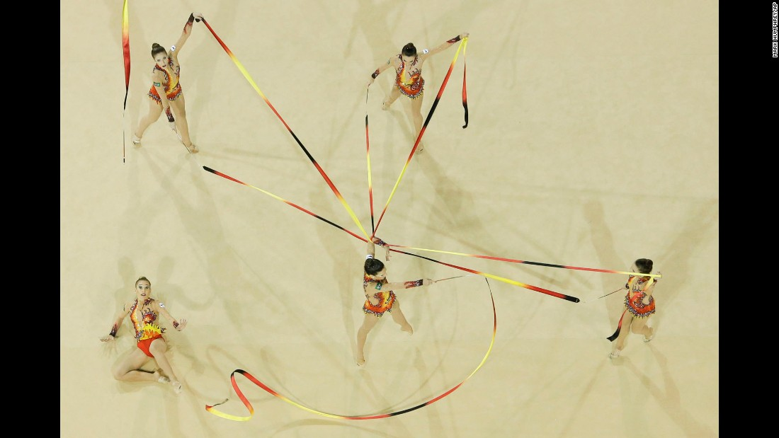 Brazil's rhythmic-gymnastics team performs in the ribbons final at the Pan American Games on Sunday, July 19. It won gold in the event.