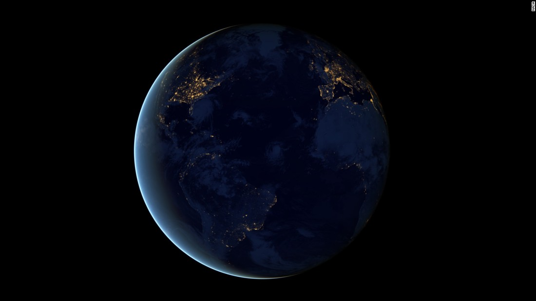 This global view of Earth's city lights is a composite assembled from data acquired by the Suomi National Polar-orbiting Partnership (Suomi NPP) satellite. The data was acquired over nine days in April 2012 and 13 days in October 2012.