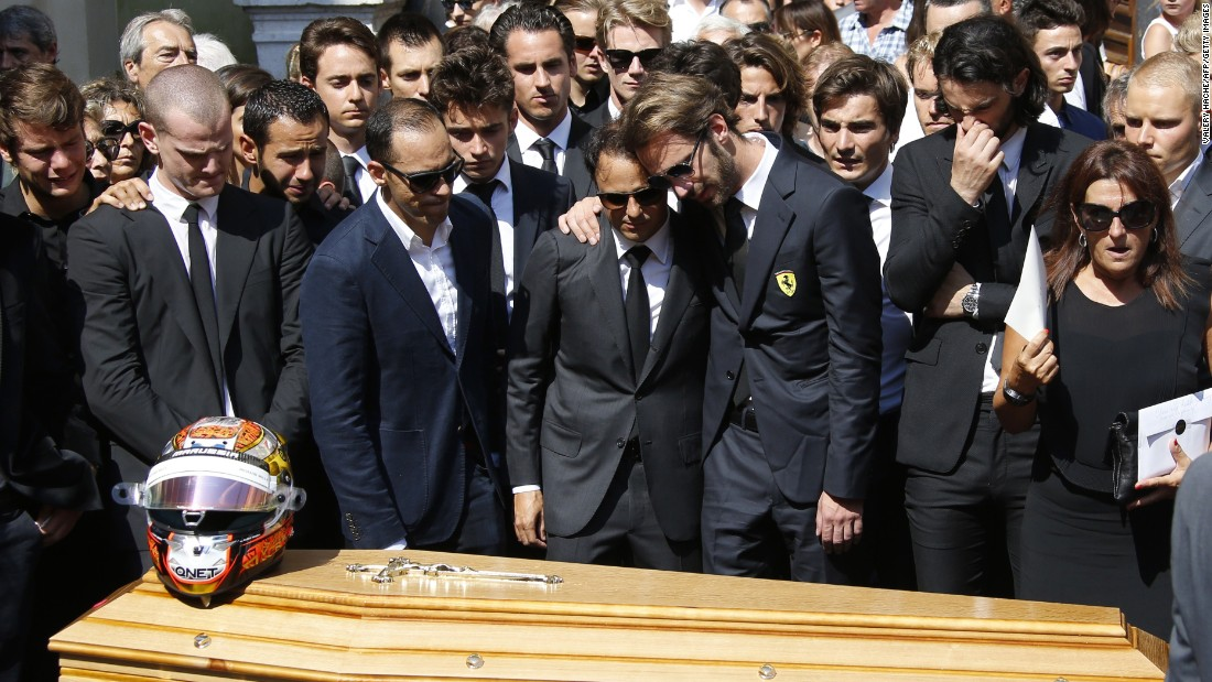 Formula One drivers -- including Pastor Maldonado and Felipe Massa (seen here) -- attend the funeral of racer Jules Bianchi, who was honored in a service at the Cathedrale Sainte Reparate in Nice on July 21.