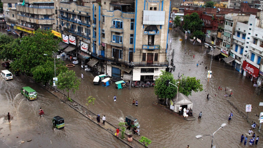 "Heavy rain lashes Lahore and floods roads in the Pakistani city on July 21. As roads turn into rivers, some Twitter users bemoaned that Lahore has become the ""Venice of the East."""