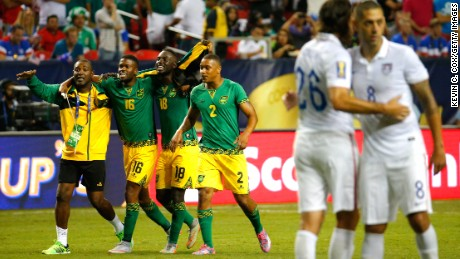 Jamaica celebrates the 2-1 win over Team USA during the Golf Cup semifinal Wednesday in Atlanta.
