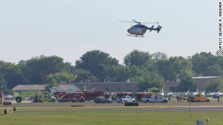 First responders arrived at the scene of a small plane crash Wednesday in Oshkosh, Wisconsin.