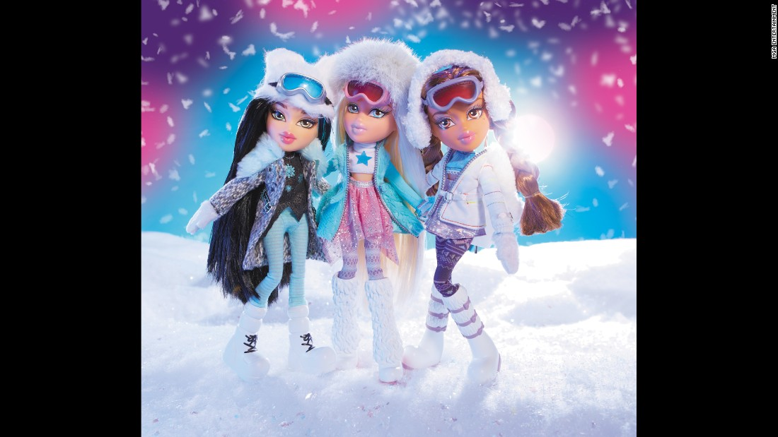 "Here's what store-bought Bratz dolls look like. Pictured are ""Snow Kissed"" Jade, Cloe and Yasmin. Bratz has changed its formula recently to focus more on empowerment and staying plugged into technology, but the sassy clothing and makeup are still around."