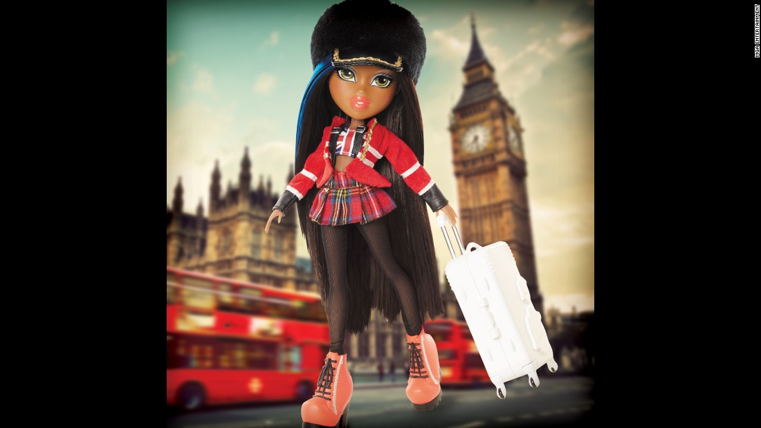 "Bratz has given its newer dolls aspirations like getting fit and exploring the world. The new Bratz motto: ""It's good to be yourself; It's good to be Bratz."" Here, ""Study Abroad"" Sasha takes a trip to the United Kingdom."