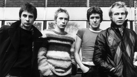 British punk-rock group the Sex Pistols. Left to right: Glen Matlock, Johnny Rotten (aka John Lydon), Steve Jones and Paul Cook.