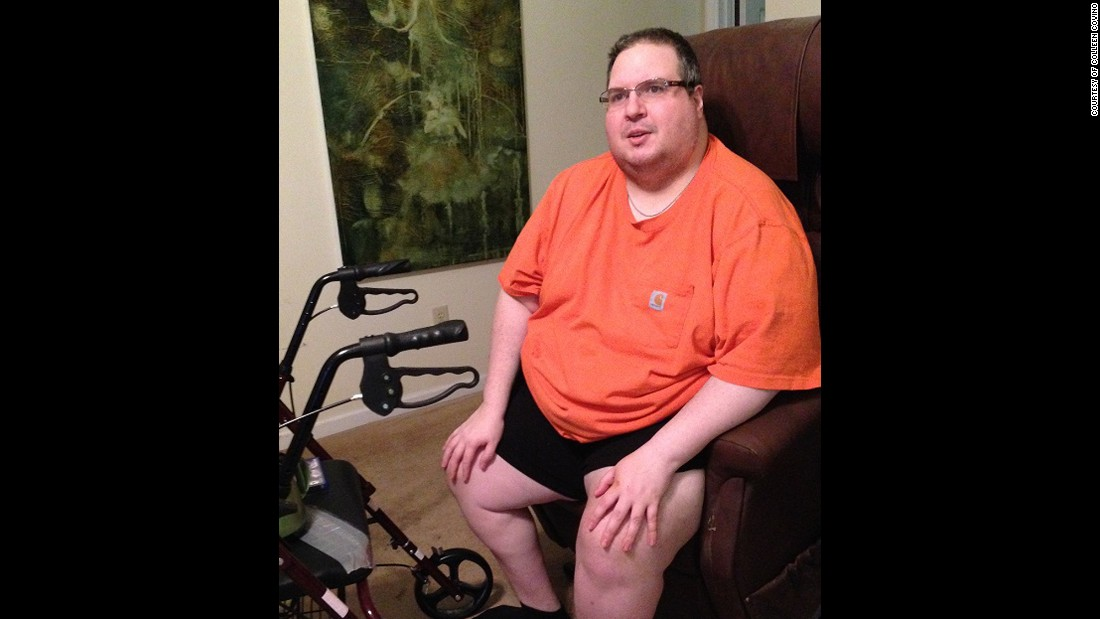 Because of his MS, Blaise now uses a lift chair and walks using a walker, pictured on the left.