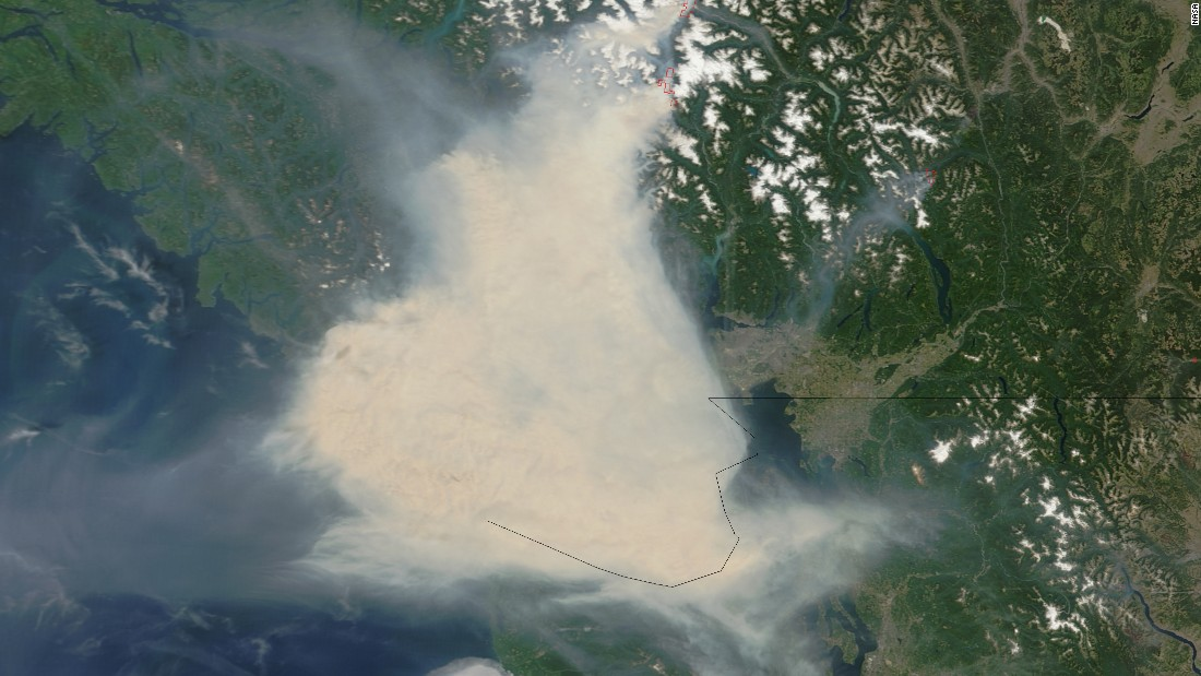 Fires in western Canada sent thick smoke over Vancouver and adjacent areas of British Columbia in early July. Some residents wore face masks for protection and health officials warned Women's World Cup fans against outdoor activities. NASA's Terra satellite captured these images of the smoke July 5 and 6. The smoke almost obscures the Strait of Georgia and southern Vancouver Island.